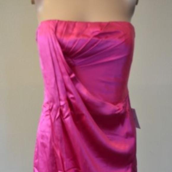 BCBG MAXAZRIA Emerald Draped Satin FUCHSIA 8 #412 Dresses & Skirts - BCBG MAXAZRIA Emerald Draped Satin FUCHSIA 8 #412